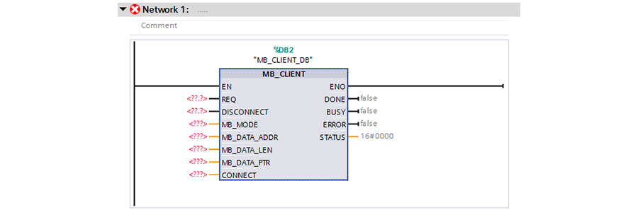 Instance of MB_CLIENT function block.