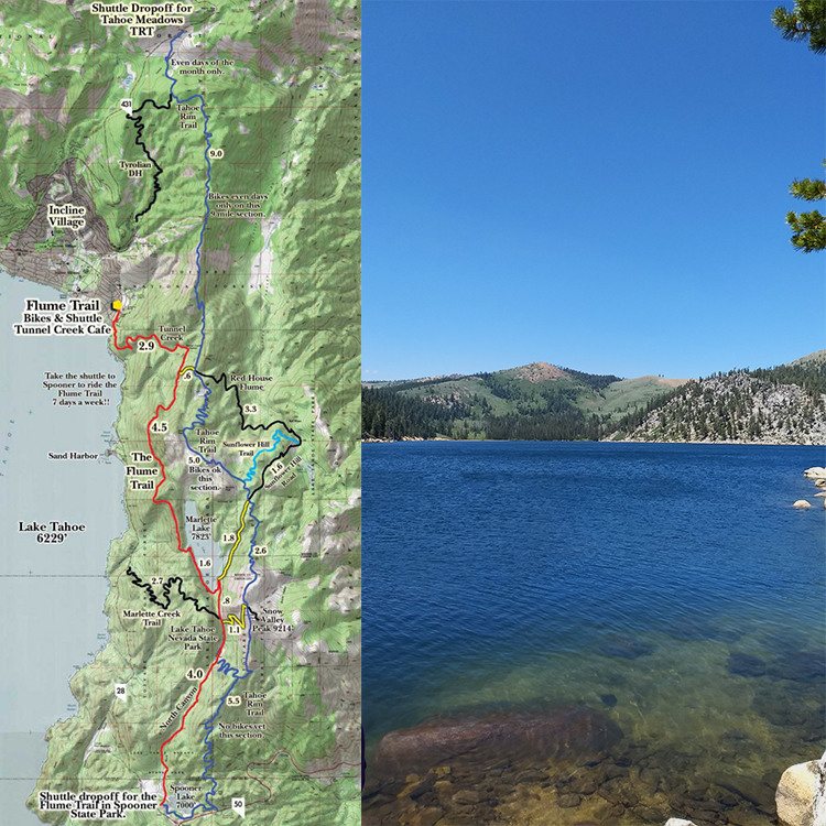 Side by side images showing the Flume Trail route and Lake Tahoe.