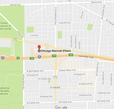Screenshot of map showing location of Marriott Hotel by O'Hare.