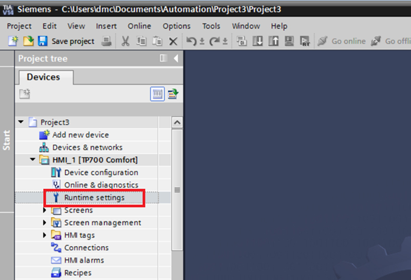 Navigating to the HMI project's Runtime properties by double-clicking Runtime Settings.