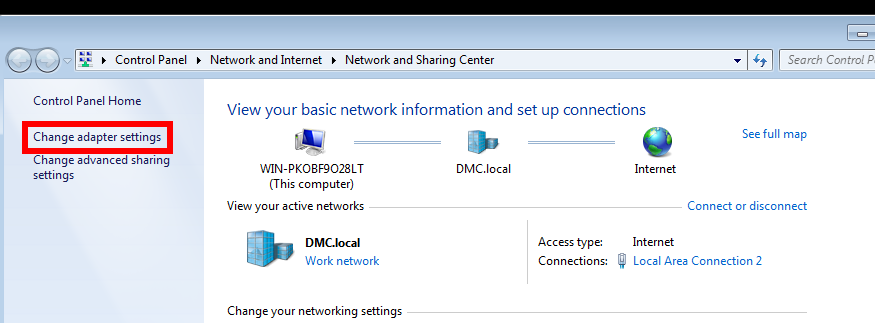 Screenshot of changing adapter settings in network and sharing center