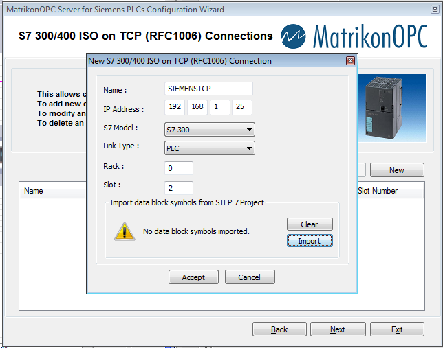 Setting up a new S7 300/400 ISO on TCP Connections