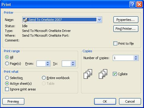 Send to OneNote - Print Dialog