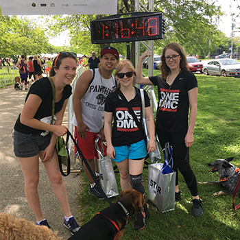 Photo of PAWS 5K walkers at the finish line.