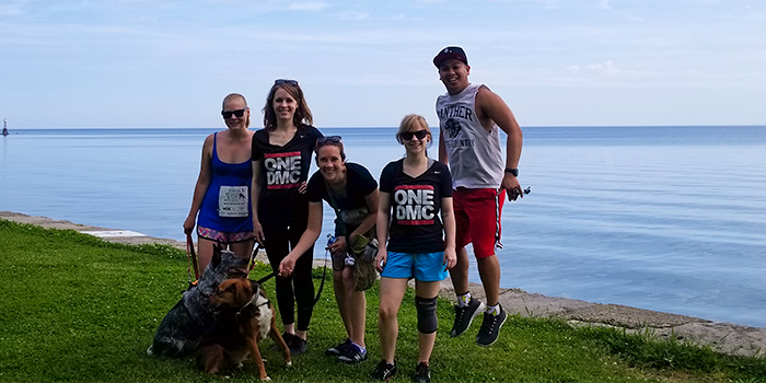 Photo of DMC Cares PAWS 5k walkers by Lake Michigan.