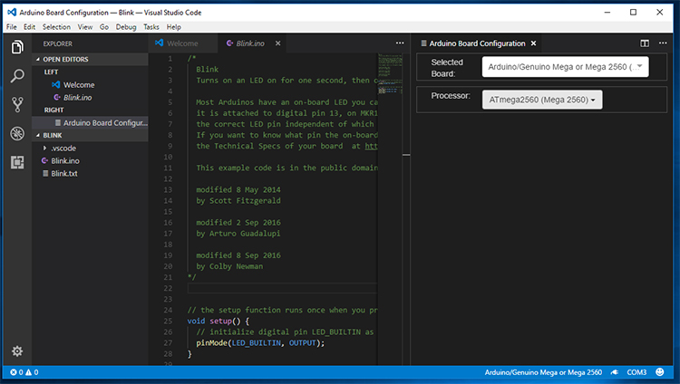 Screenshot of board selection in VSCode.