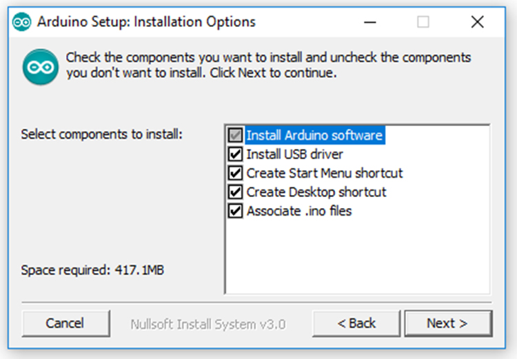 Screenshot of Arduino Setup Options.