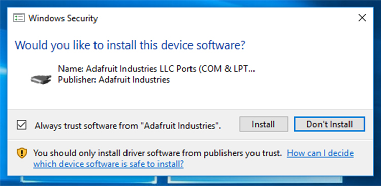 Screenshot of permissions for COM port and USB driver installation.