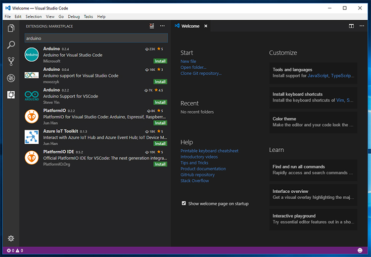 Screenshot of Visual Studio Code Extensions Marketplace.