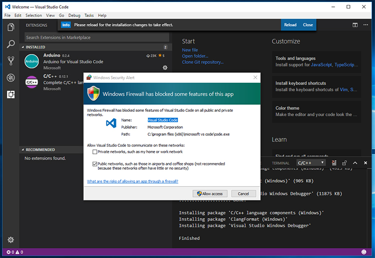 Screenshot of Visual Studio Code - Firewall settings - Firewall Access.