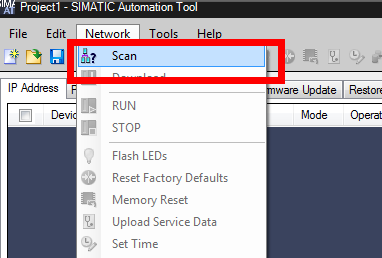 Screenshot of performing a scan in the SIMATIC Automation tool