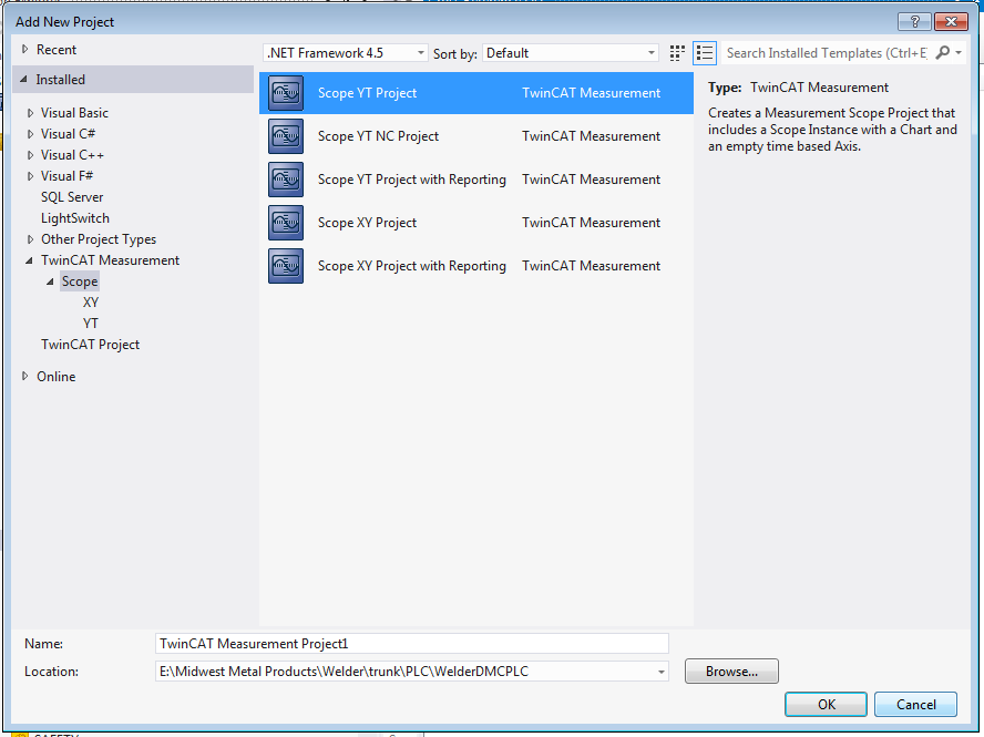 Selecting a scope under TwinCAT Measurement in Visual Studio