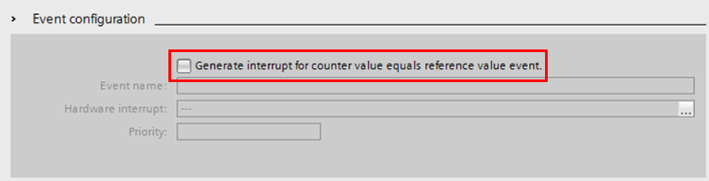 "2.	From here select event configuration and check the box for ""Generate interrupt for counter value equals reference value event."""