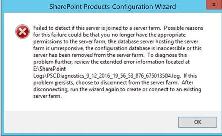 "Screenshot of report from SharePoint Products Configuration Wizard stating it ""Failed to detect if this server is joined to the farm."""