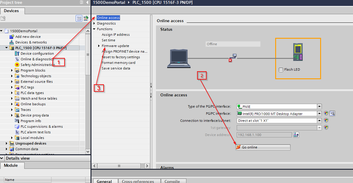 Screenshot of steps to install firmware in Siemens TIA Portal V14