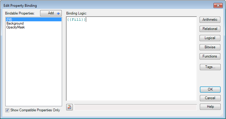 Screenshot of the Smart Binding Editor
