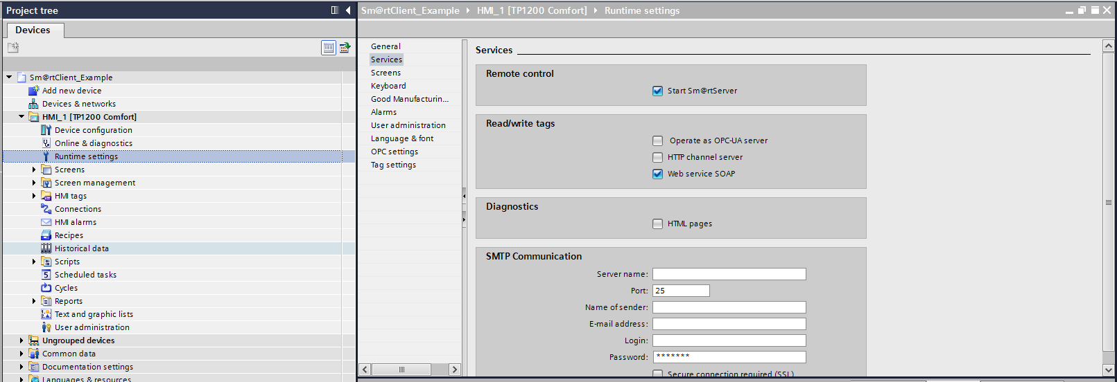 Comfort Panel TIA Portal Project Runtime Settings