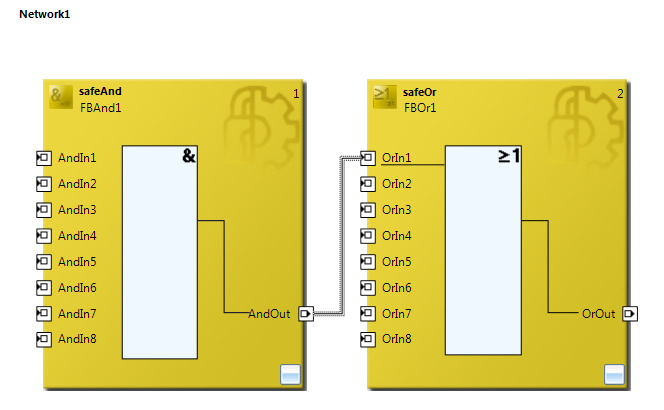 Image of Beckhoff TwinSAFE outputs and inputs linking