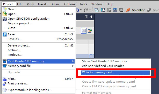 Screenshot of selecting writing to memory card from card reader/ USB memory