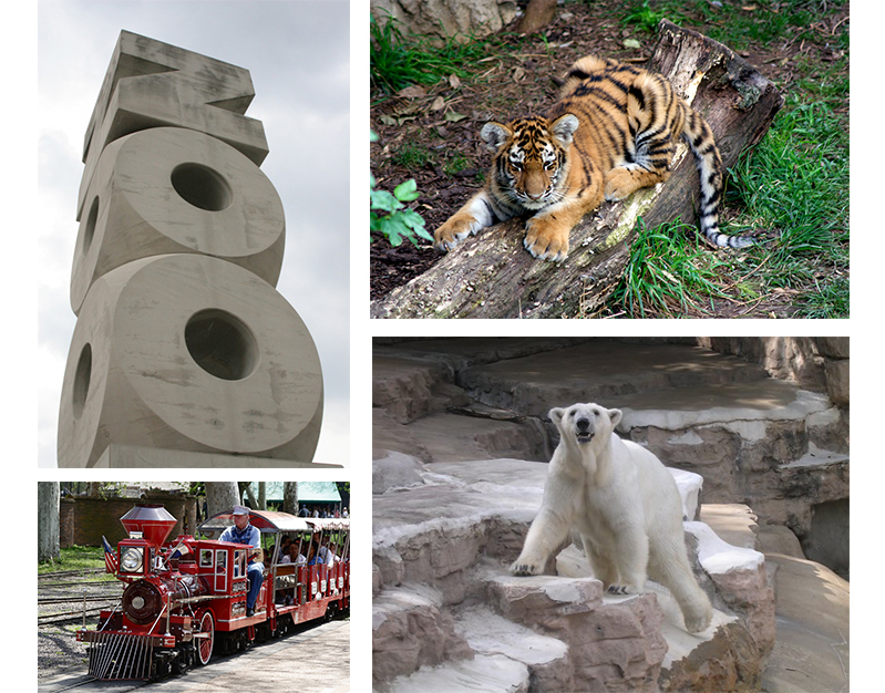Photos of St Louis Zoo sign, baby tiger, polar bear, and mini train.