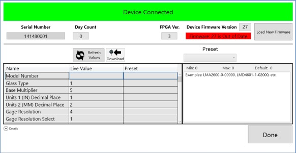 Device Configuration Screen
