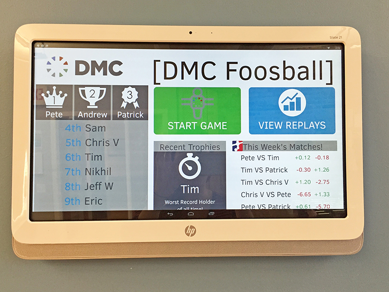 DMC's foosball tracking app, developed in-house by engineers on FedEx Day