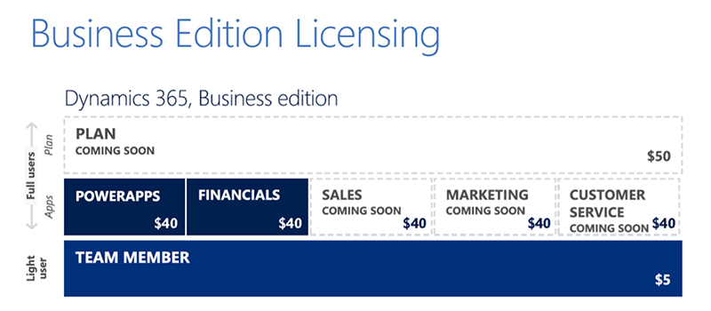 Microsoft Dynamics 365 offers a bundled plan for the Business Edition
