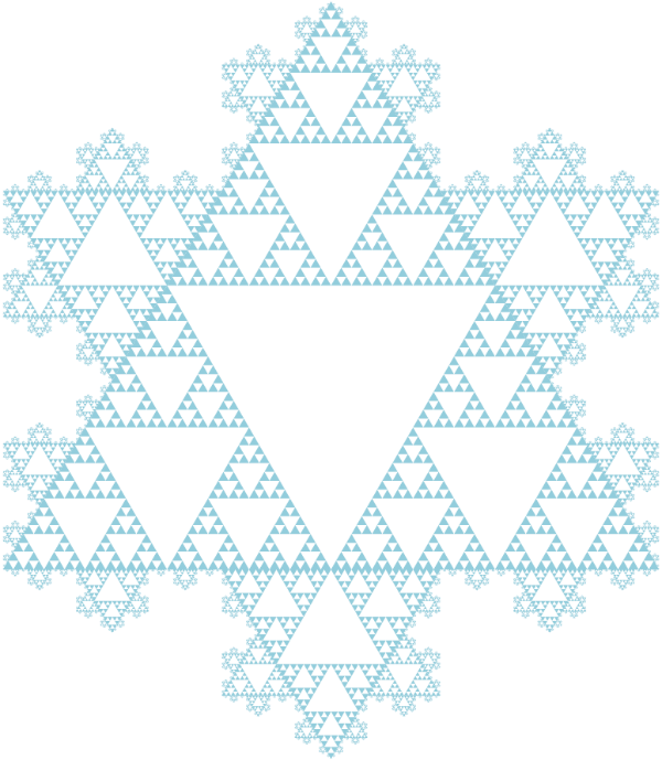 A snowfalke made of fractal patters Koch Snowflake and Sierpinski Triangle.