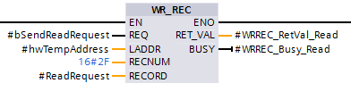 Screenshot of calling the Profibus/Profinet remote device asynchronous write block