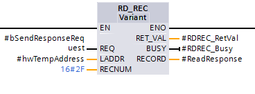 Screenshot of calling the Profibus/Profinet remote device asynchronous read block