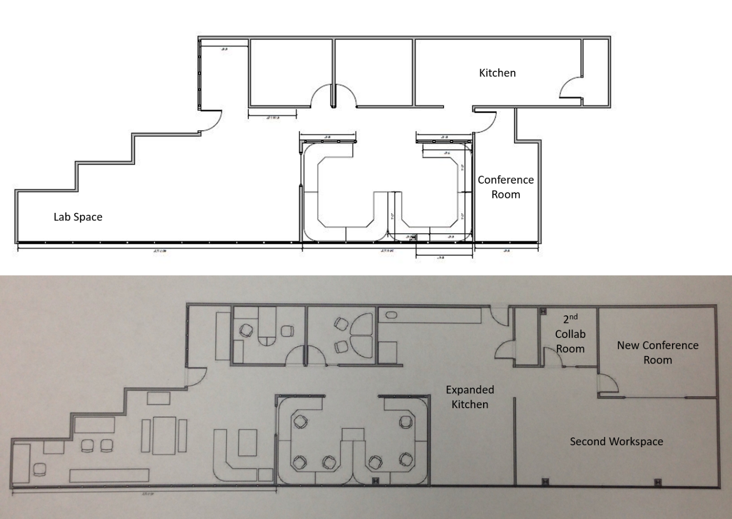 Before and after layouts of the Houston Office.