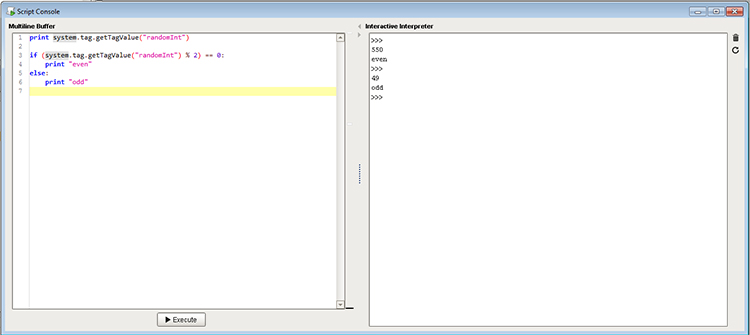 Screenshot of the scripts console in Ignition.