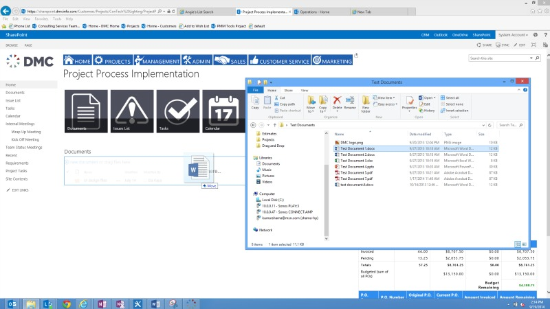 The SharePoint 2013 drag and drop capabilities are shown here
