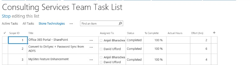 Edit a list in spreadsheet mode with SharePoint 2013.