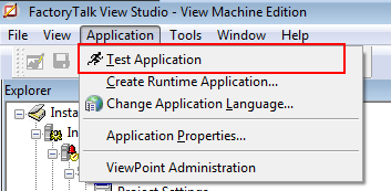 Testing application in FactoryTalk View Studio ME