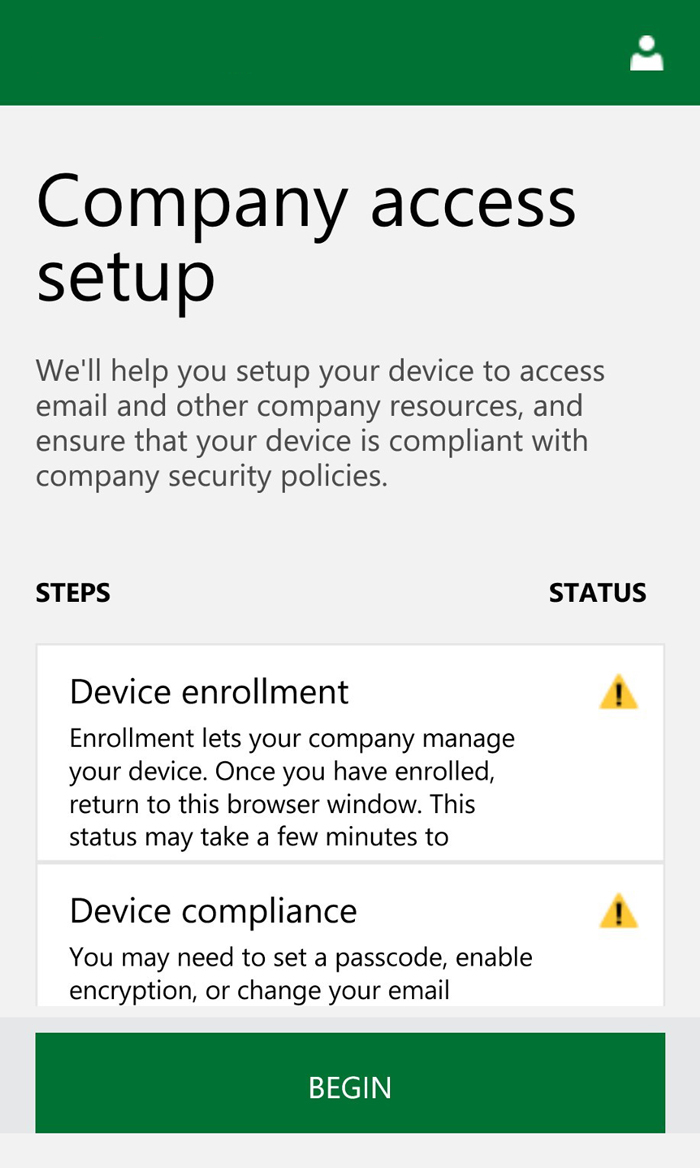 Microsoft Intune Device Enrollment Company Access Setup Screen