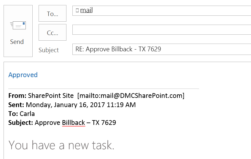 Outlook Email Generated by SharePoint for Easy Task Approval