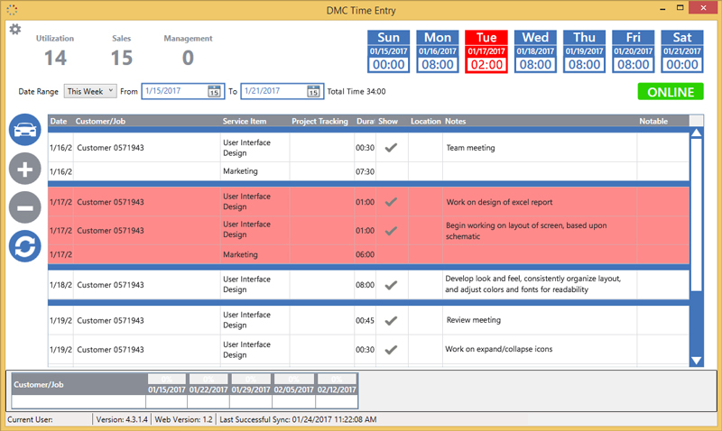 Screenshot of Employee Time Entry PC Application Developed by DMC