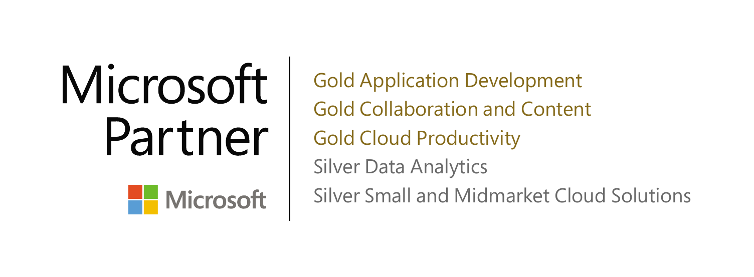 DMC's Microsoft Partner Certifications in Application Development, Collaboration, Data Analytics, Cloud Productivity, and Small and Mid-Market Cloud Solutions
