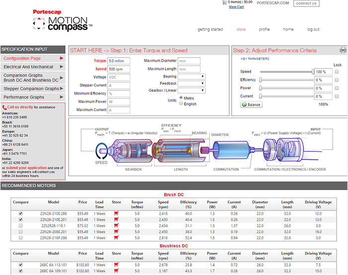Portescap Motion compass Part Selection Web Application Developed by DMC