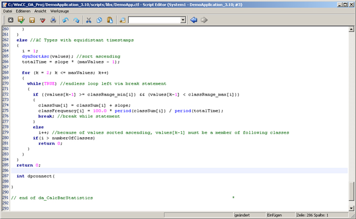 Screenshot of SIMATIC WinCC OA Scripting