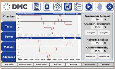Screenshot of Appliance Test System with Power Measurements Main Screen
